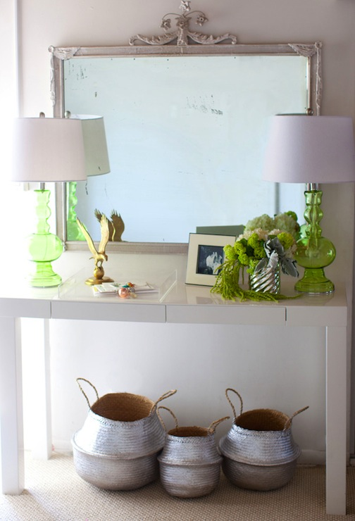 The Life Styled   Gorgeous Styled Console Table With West Elm Parsons  Console Table, Green Glass Lamps And Lantern Moon Rice Baskets Spray  Painted Silver ...