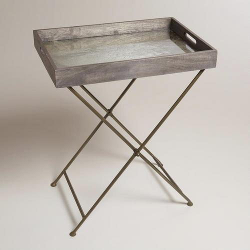 Mirrored wood butler tray world market for Tray side table