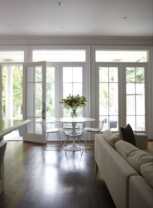 Wallof french doors and transom windows contemporary for Dining room ideas with french doors