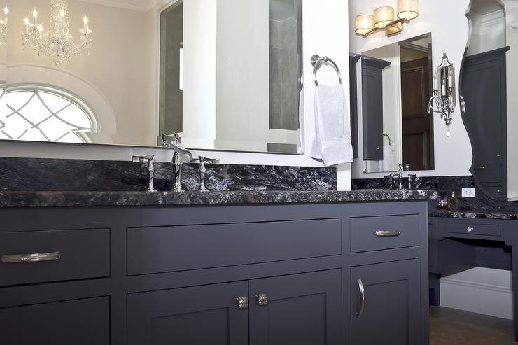 Blue Vanity Contemporary Bathroom Bella Vici Interiors - Slate gray cabinets