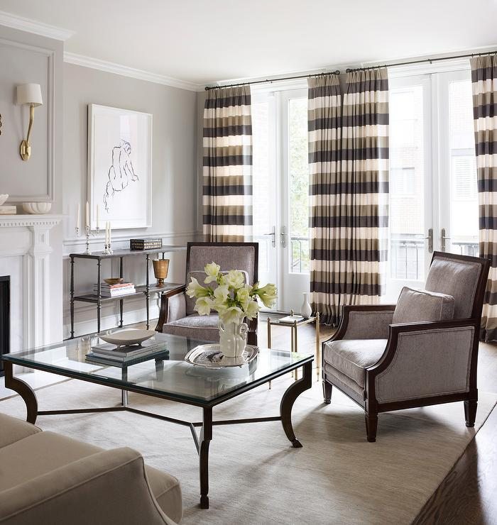 Striped Curtains Transitional Living Room Kim Scodro