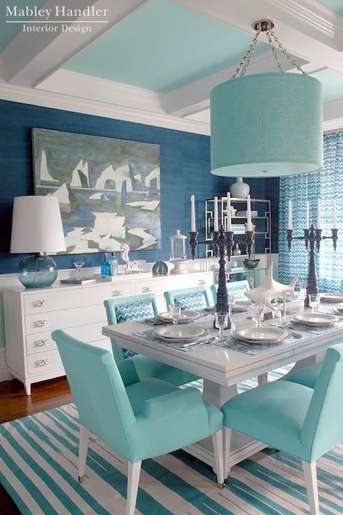 Turquoise Dining Room Cottage Dining Room Pratt And