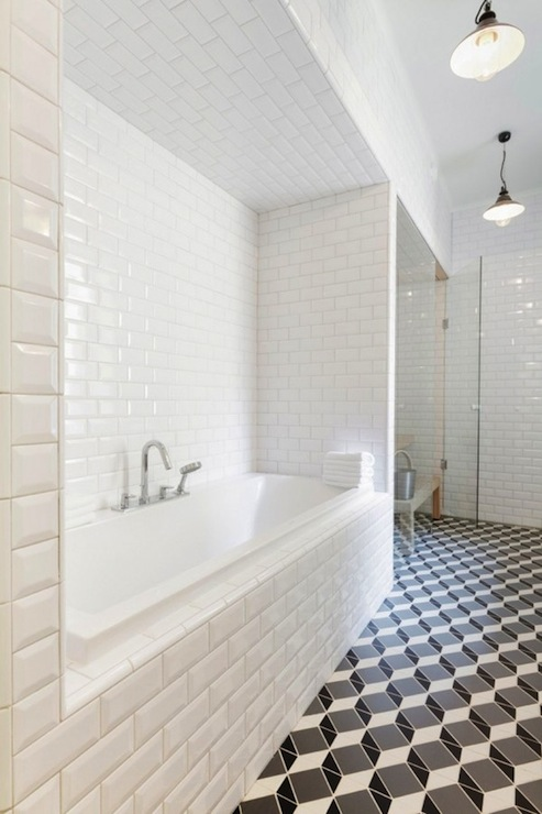 Beveled Subway Tile - Contemporary - bathroom - Linda Bergroth