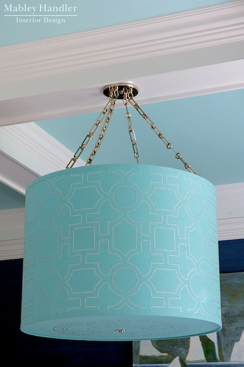 turquoise lighting. Turquoise Dining Room With Blue Coffered Ceiling Accented Michelle Hatch New York For Bone Simple Design Linen Drum Shade Light Fixture Lighting