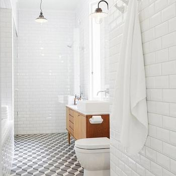 Beveled Subway Tile, Contemporary, bathroom, Linda Bergroth