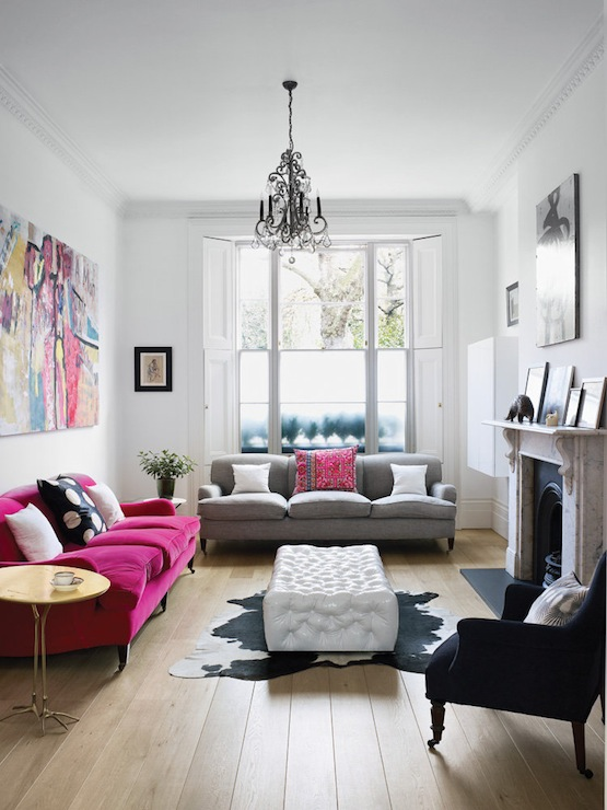Eclectic Living Room With Hot Pink Velvet Sofa With Rolled Arms And Caster  Legs, Traccia Gold Leaf Bird Leg Table By Meret Oppenheim, Rolled Arm Gray  Sofa ...