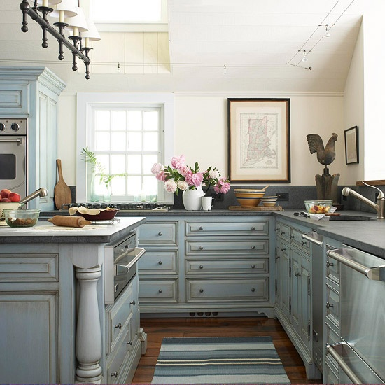 chic kitchen with pale yellow walls and hand painted blue cabinets