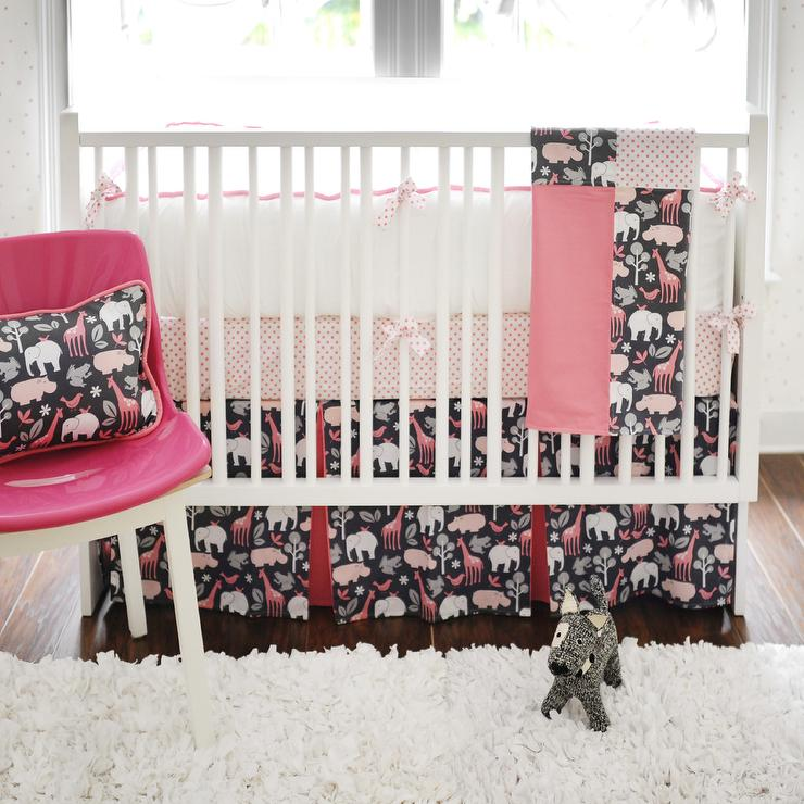 pink and black crib bedding contemporary nursery new arrivals inc