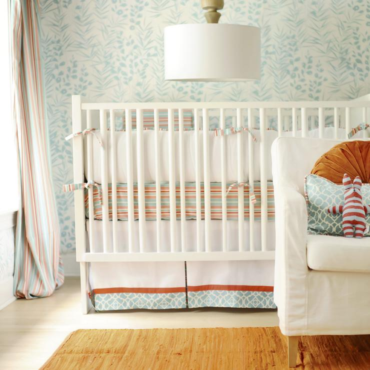 Turquoise Blue And Orange Crib Bedding