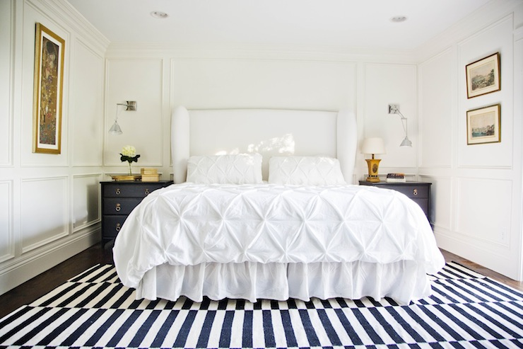 white upholstered headboard contemporary bedroom
