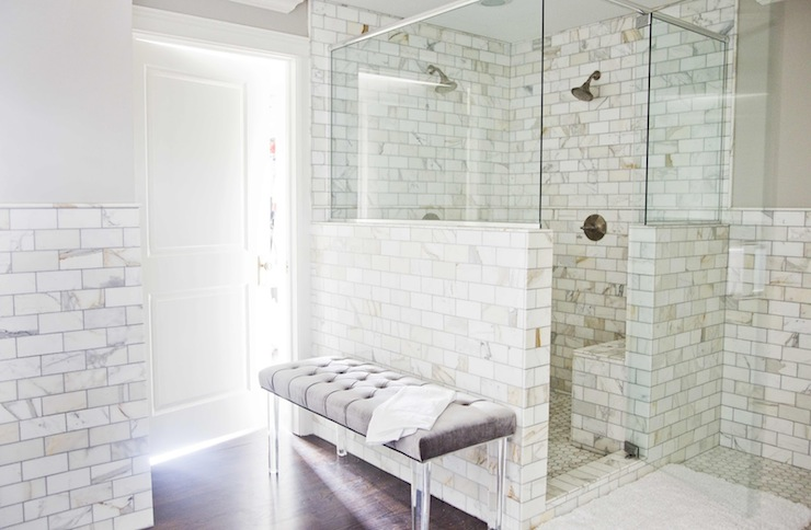 Stunning Master Bathroom With Gray Paint Color Calcutta Gold Marble Subway Tile Backsplash Open Shower Surround