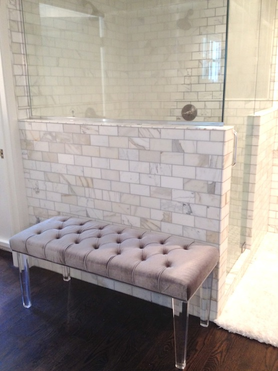 Lucite Bench Contemporary Bathroom White Amp Gold Design