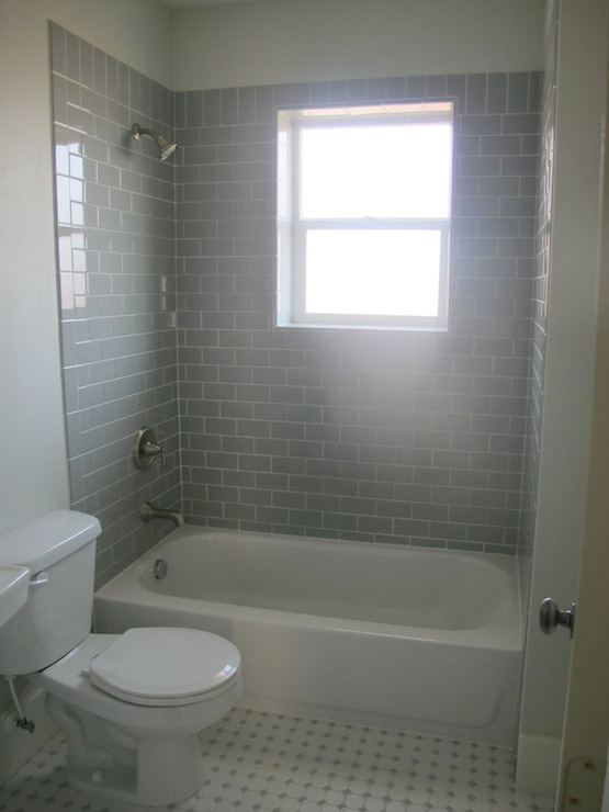 fantastic guest bathroom with with 3x6 daltile desert gray subway tile