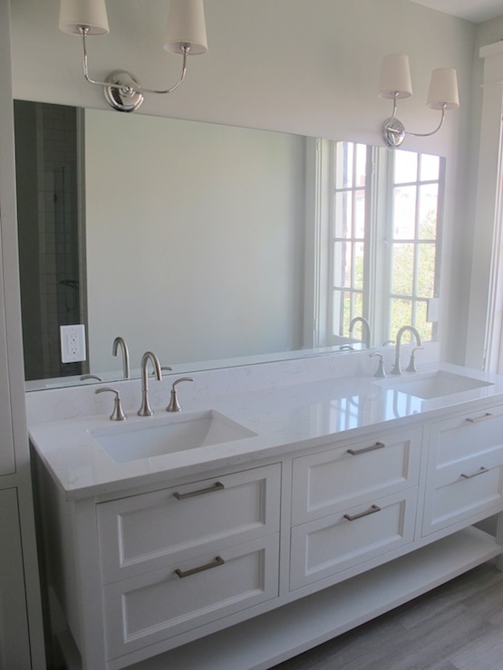 gorgeous bathroom with benjamin moore white dove cabinets with his and