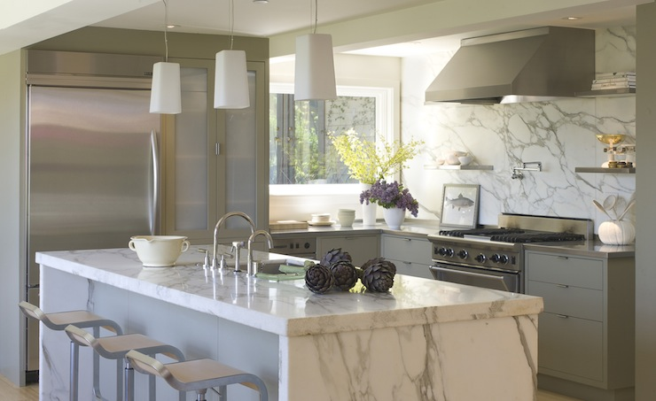 Calcutta Marble Island - Contemporary - kitchen - Ken Linsteadt ...