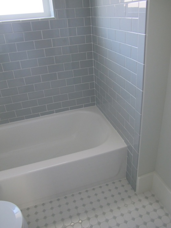 white and gray bathroom with with 3x6 daltile desert gray subway tile