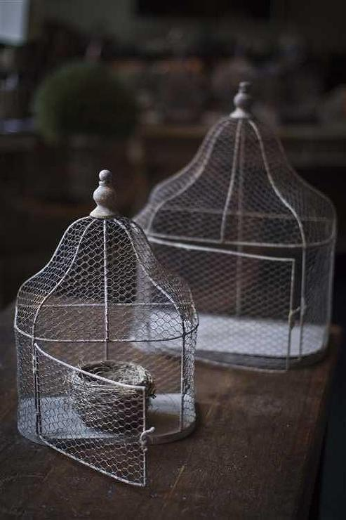 Set Of Two Metal Wall Bird Cage Planters With Rustic Finish