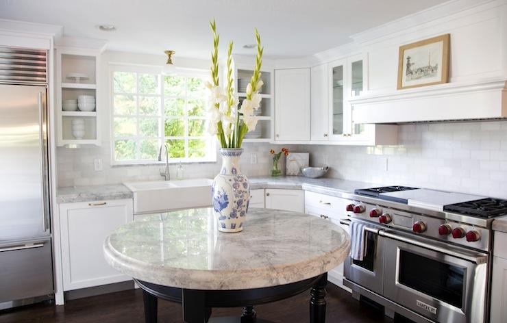 White thassos marble subway tile design ideas stunning u shaped kitchen design with white shaker cabinets paired with super white quartzite countertops and thassos marble subway tile backsplash tyukafo