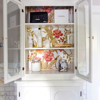 Glass Front Bathroom Cabinet, Contemporary, bathroom, Benjamin Moore Revere Pewter, White & Gold Design