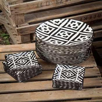 Handpainted Black and White Patterned Ceramic Assorted Plates