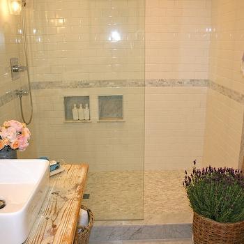 White Shower Tiles, Cottage, bathroom, The Polished Pebble