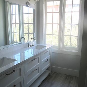 Cambria Torquay, Transitional, bathroom, Benjamin Moore White Dove, White & Gold Design