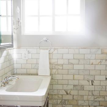 Calcutta Gold Marble, Contemporary, bathroom, Benjamin Moore Revere Petwer, White & Gold Design