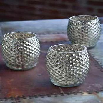 Hobnail Mercury Glass Votive Candle Holder </center>