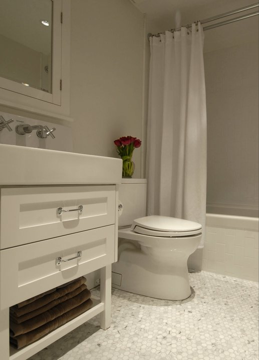 Carrara marble hex tile floor contemporary bathroom cutler design construction Marble hex tile bathroom floor
