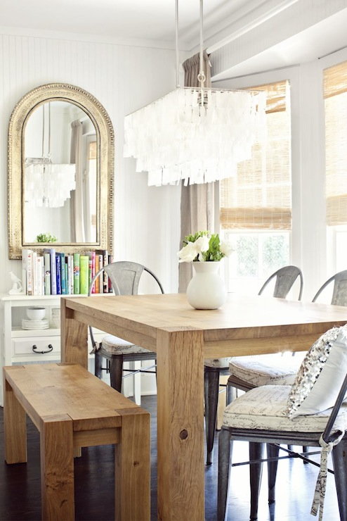 Beautiful Dining Room With Bay Window Beadboard Walls Gold Arch Mirror Crate Barrel Big Sur Table In Natural Lyle Side Chairs