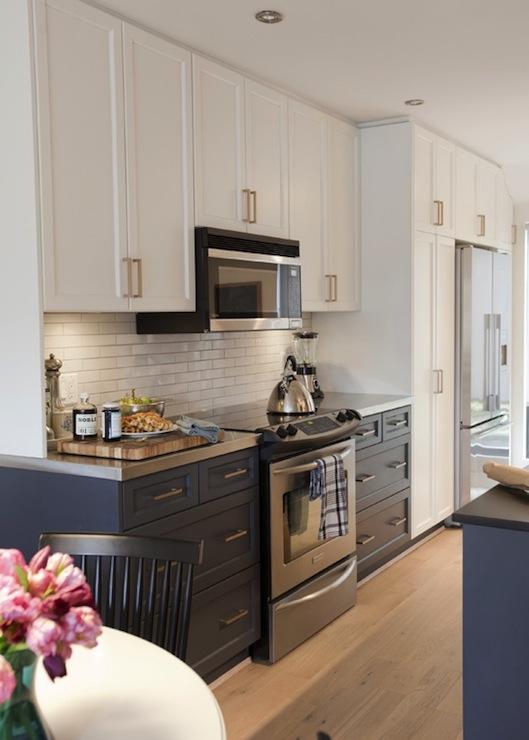 White Upper Cabinets Dark Lower Cabinets - Contemporary - kitchen ...
