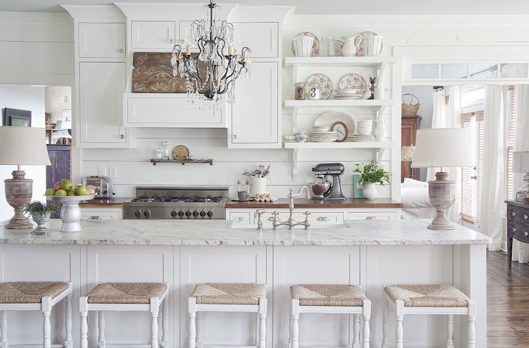 Seagrass Bar Stools Cottage Kitchen Milk And Honey Home Magnificent All White Kitchen Designs Decor