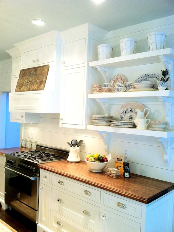 White Kitchen Butcher Block : White Kitchen Cabinets with Butcher Block Countertops - Traditional - kitchen - Milk and Honey Home