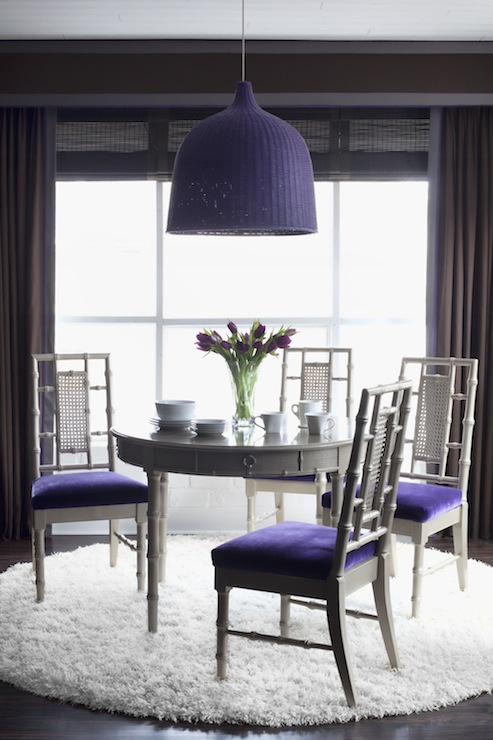 Bamboo Dining Table Gray Bamboo Dining Chairs With Purple Velvet Cushions White Round Flokati Rug Ikea Leran Pendant Painted Purple Chocolate Brown