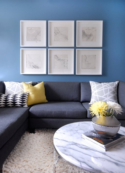 Charcoal Gray Sectional With Yellow Pillow Contemporary