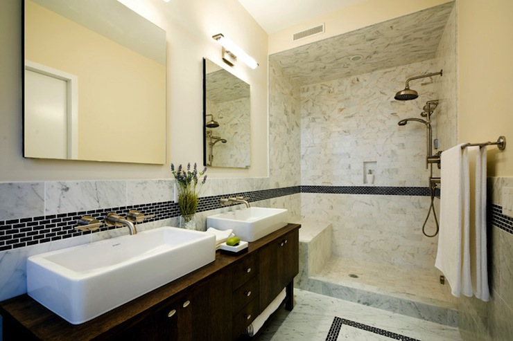Open shower design contemporary bathroom carlyle designs for Open bathroom designs