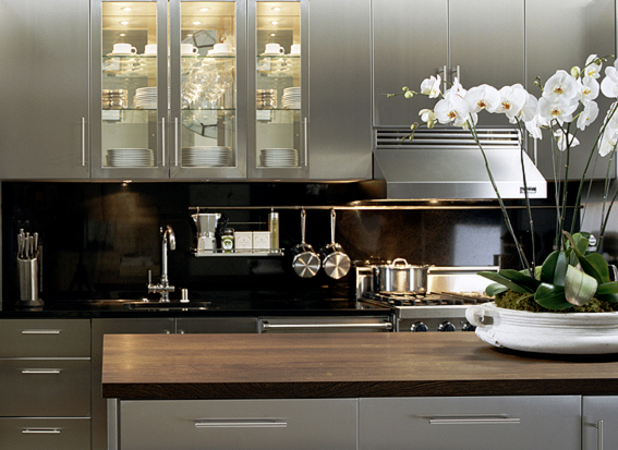 kitchen features Stainless steel kitchen cabinets with glossy black