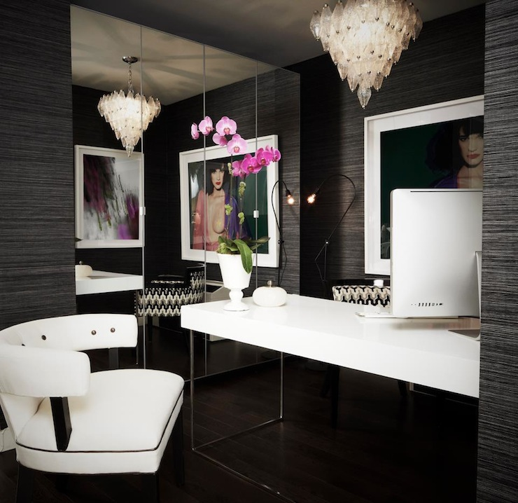 black and white office. floor to ceiling mirror