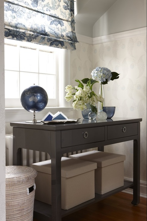 Grey Console Table Transitional Den Library Office