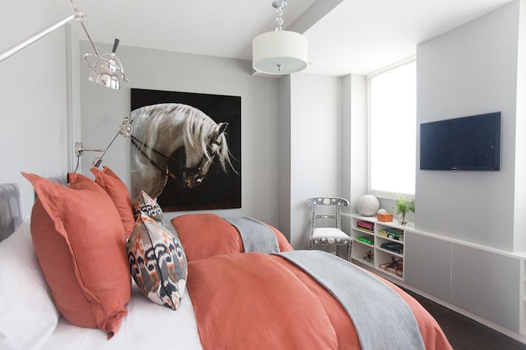 Coral And Gray Bedroom Contemporary Girl S Room