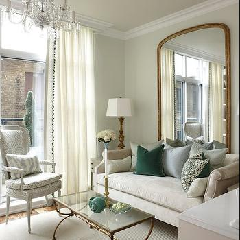 Brass and Glass Coffee Table, Transitional, living room, Para Paints Eyelet, Sarah Richardson Design