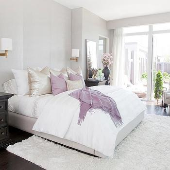 Gray Bedroom with Purple Accents - Transitional - Bedroom