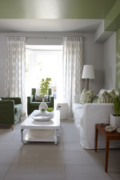 White And Green Living Room Contemporary Living Room
