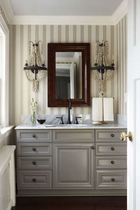 Gray bathroom cabinets transitional bathroom para paints peaks and valleys sarah Bathroom cabinets gray