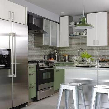 Green Kitchen Cabinets, Contemporary, kitchen, Para Paints Old Sterling, Sarah Richardson Design