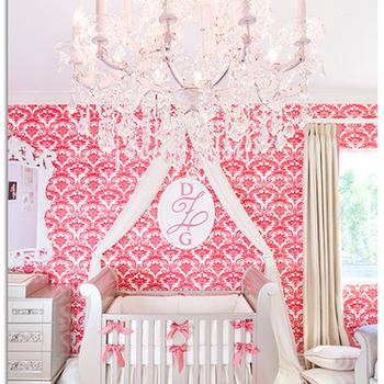 Wallpaper for Girl Nursery, Traditional, nursery, Little Crown Interiors