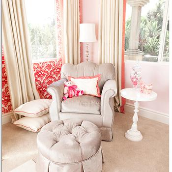 Pink Damask Wallpaper, Traditional, nursery, Little Crown Interiors