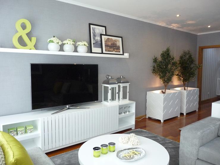 Modern white media cabinet contemporary living room for Living room gray walls