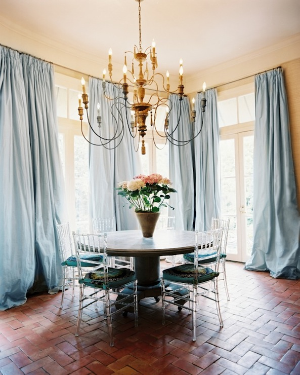 Amazing Dining Room With Caroline Robert Silk Pinch Pleat Baby Blue Curtains Covering French Doors And Transom Windows Antique Metal Plated Table