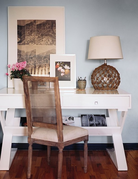 White Lacquer Desk Cottage Den Library Office Lonny